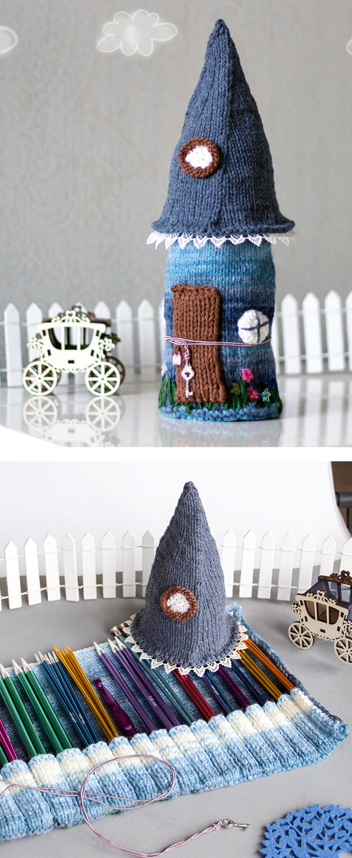 Knitting Pattern for Fairy Tale House Needle or Pencil Case