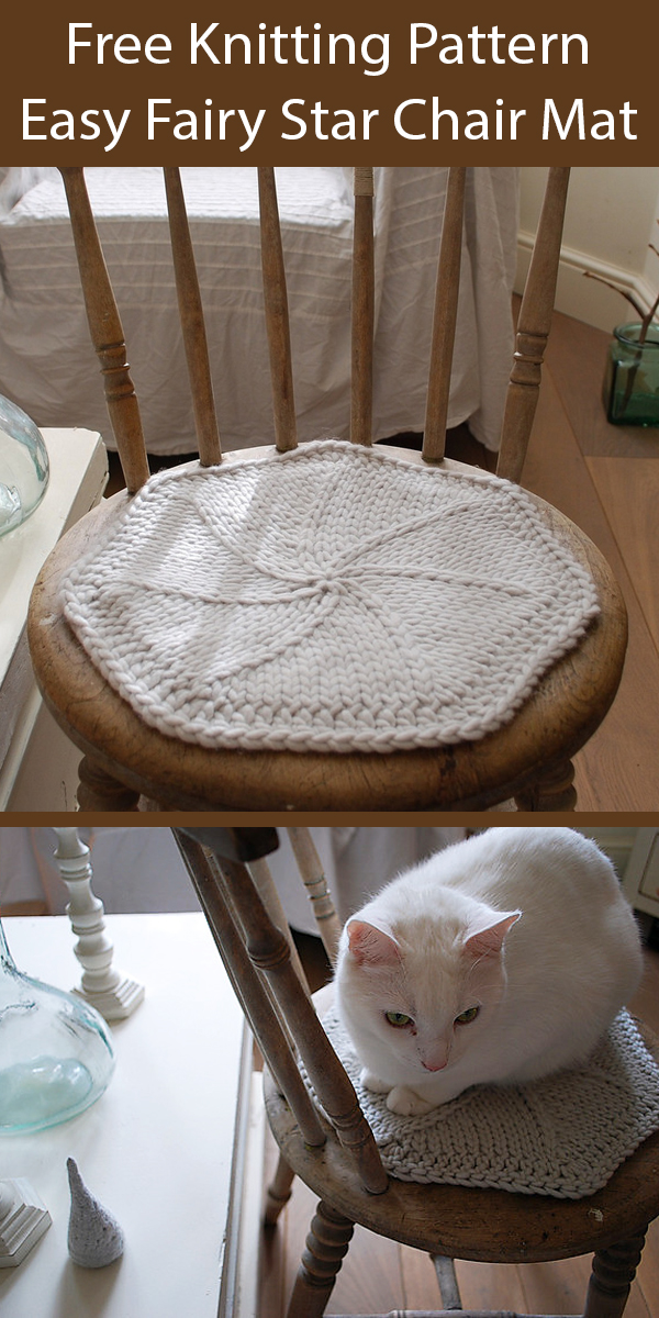 Free Knitting Pattern for Easy Fairy Star Chair Mat