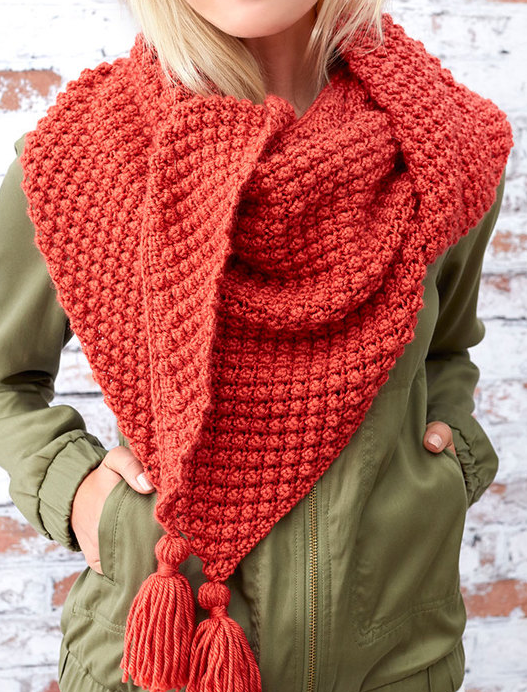 Free Knitting Pattern for Easy 4 Row Repeat Fall Berries Shawl