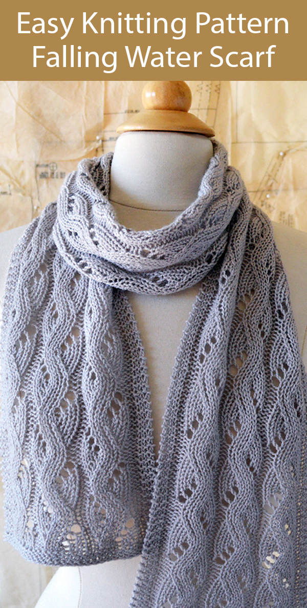 Easy Knitting Pattern for Falling Water Scarf