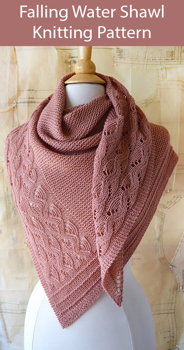 Knitting Pattern for Falling Water Shawl