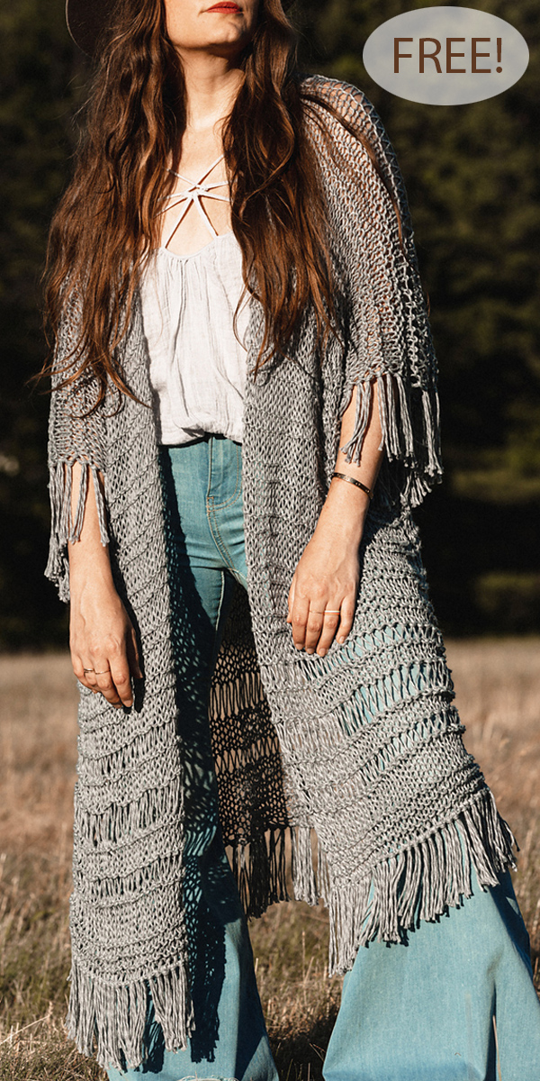 Falling Waters Duster Knitting Pattern Free Version Sizes XS-4X