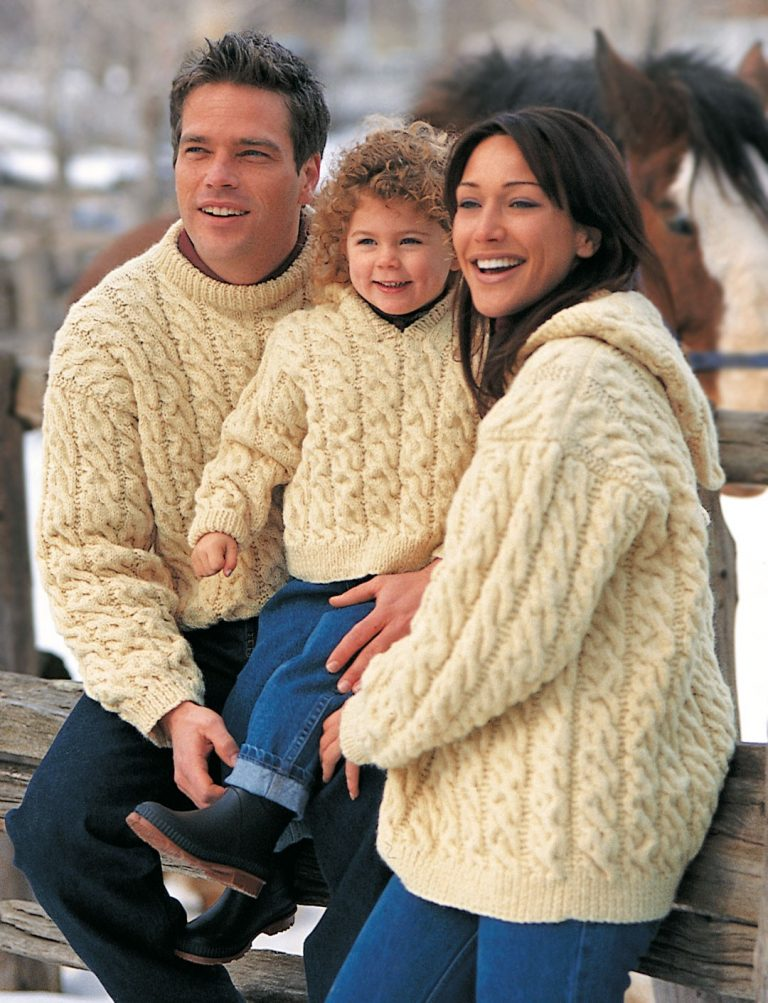 Free knitting pattern for Family Cables Sweaters