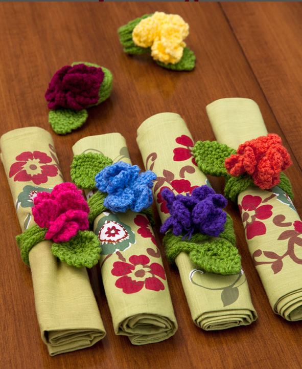 Free knitting pattern for Fantasy Flower Napkin Rings