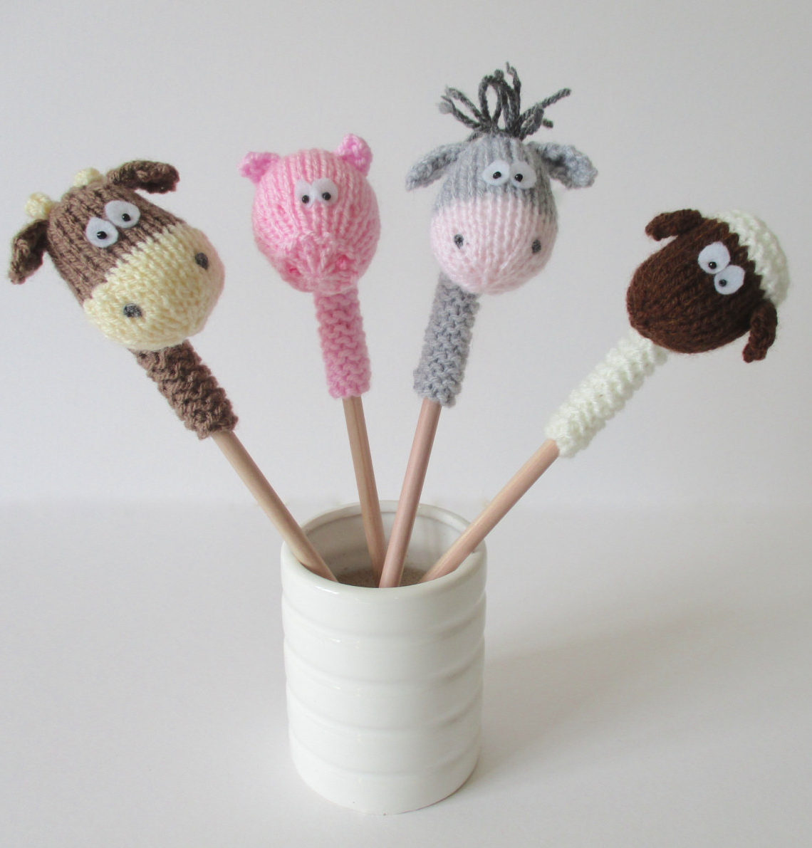 Knitting Pattern for Farmyard Pencil Toppers
