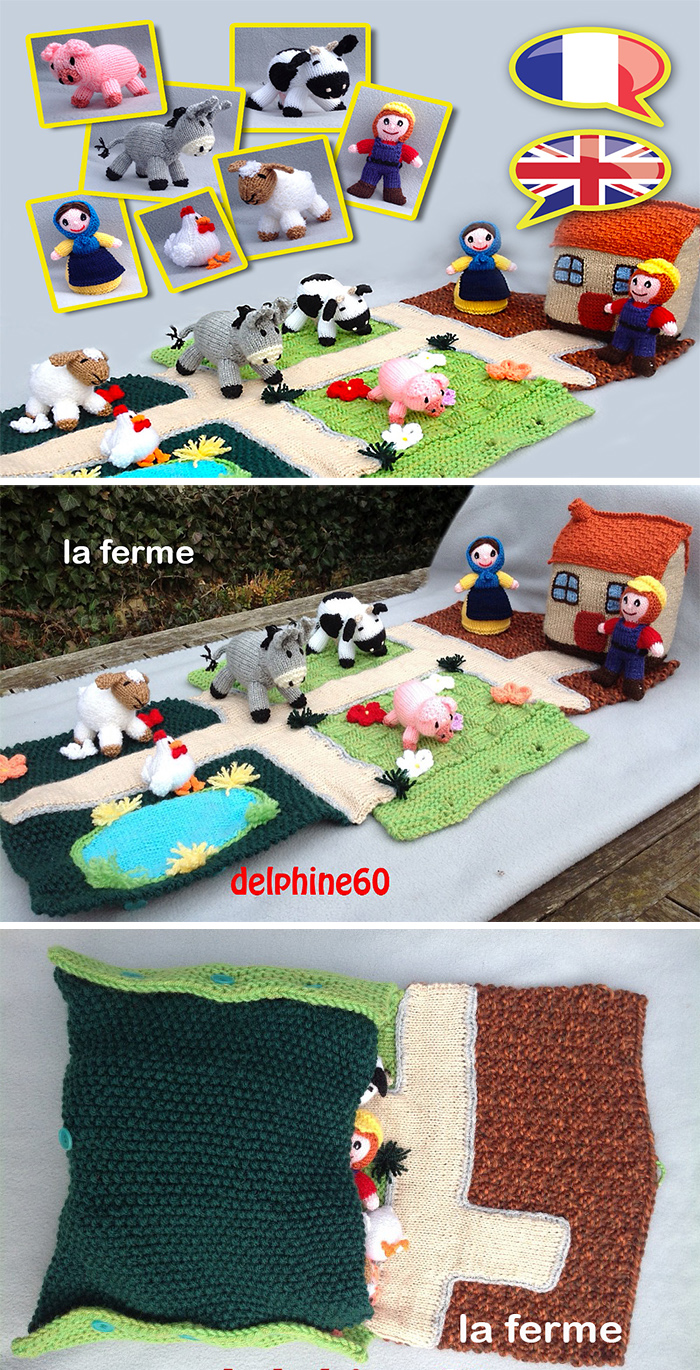 Knitting Pattern for Farm Play Mat and Bag