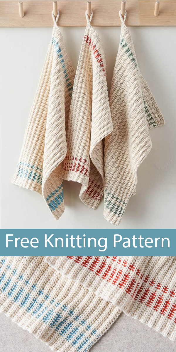 Free Knitting Pattern for Farmhouse Dishtowels