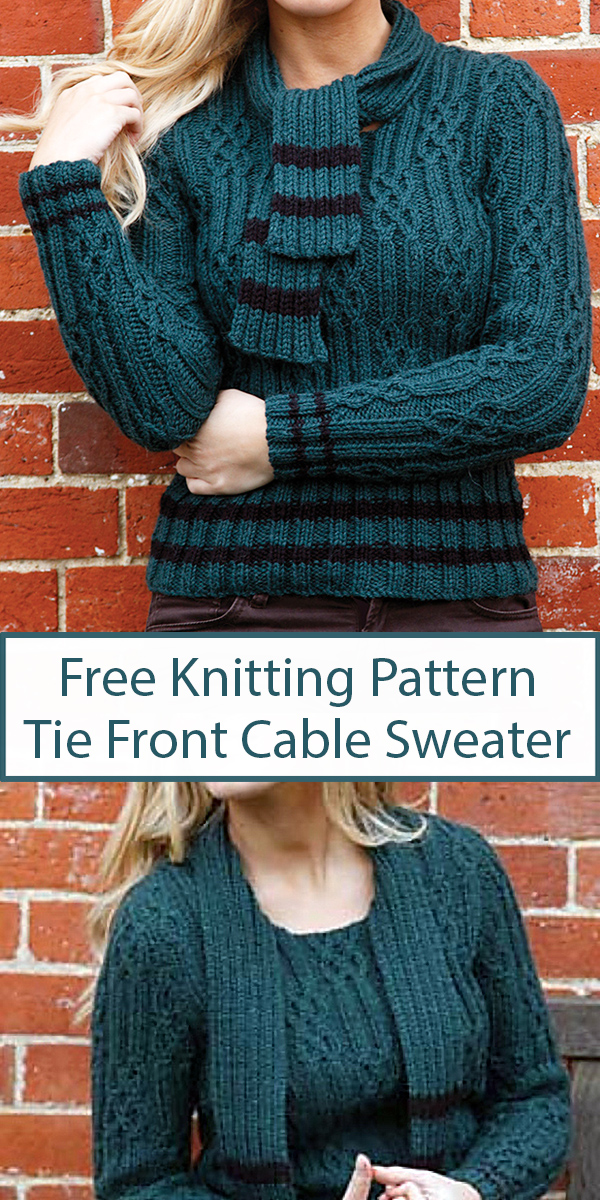 Free Knitting Pattern for Tie Front Cable Sweater