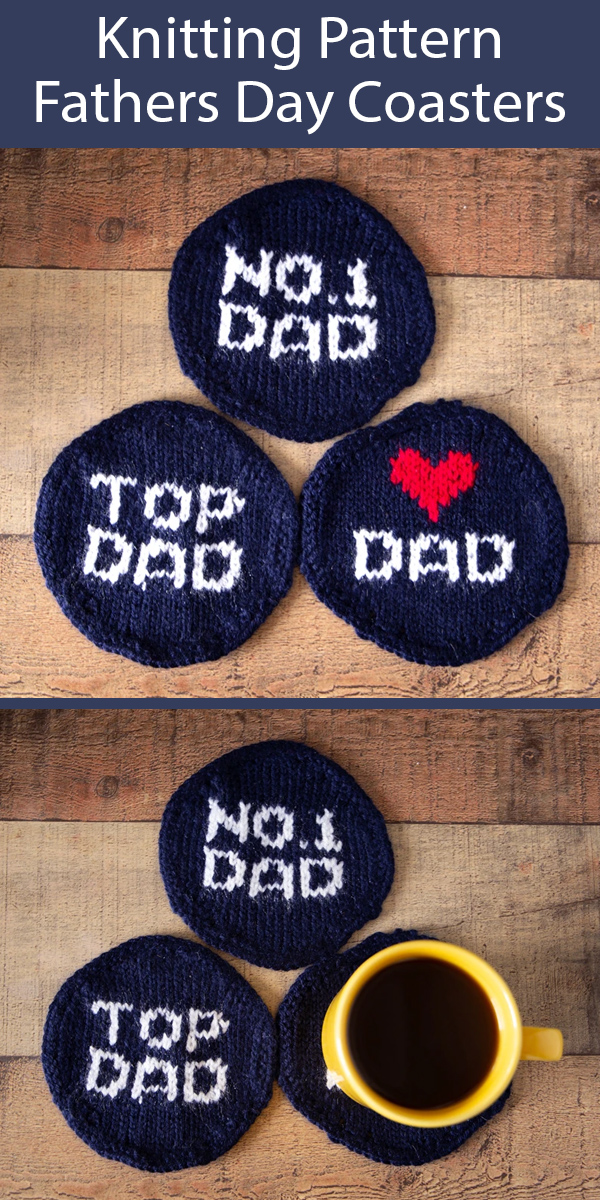 Knitting Pattern for Fathers Day Coasters