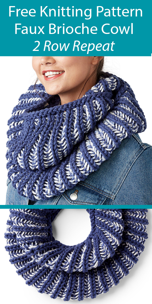 Free Knitting Pattern for Faux Brioche Cowl in 2 Row Repeat Fisherman's Rib