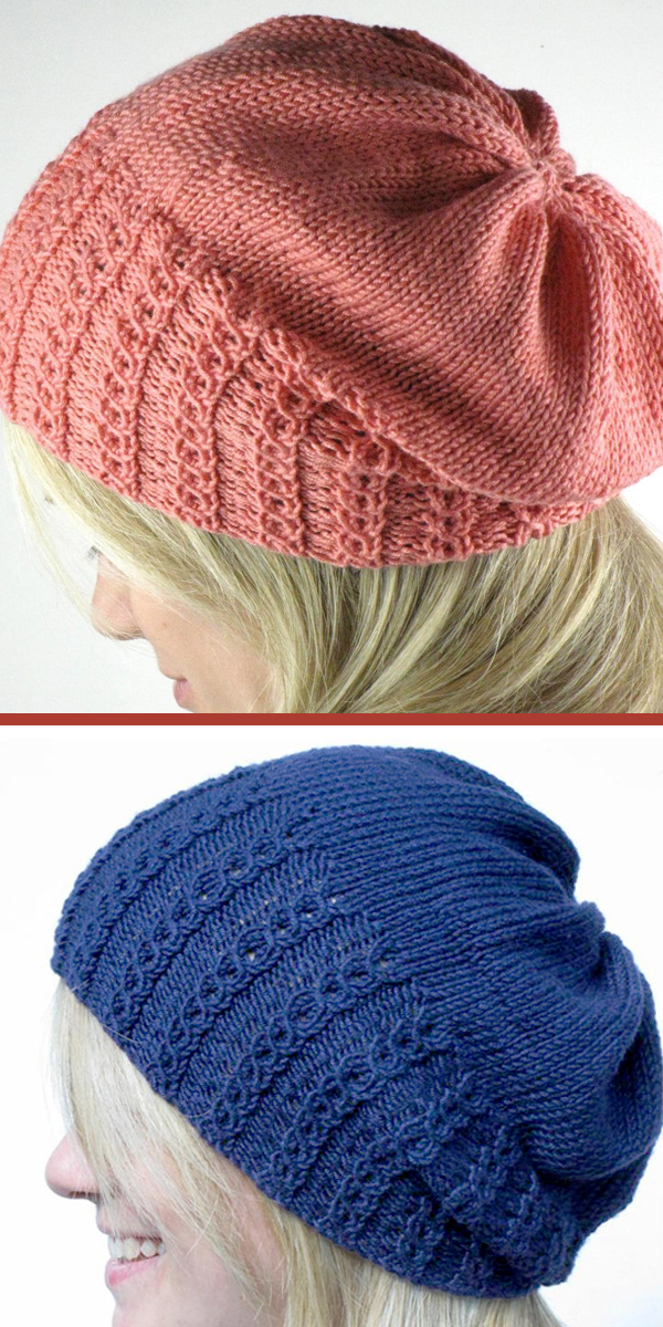 Hat Knitting Pattern Faux Cable Slouchy Hat