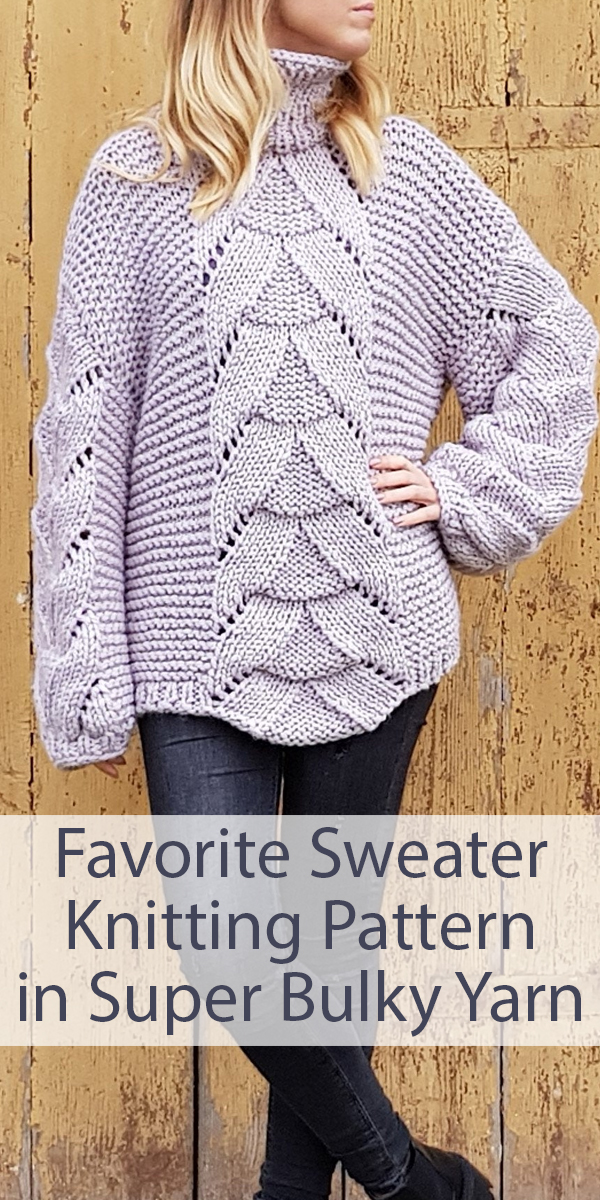 Knitting Pattern for Quick Favorite Sweater in Super Bulky Yarn