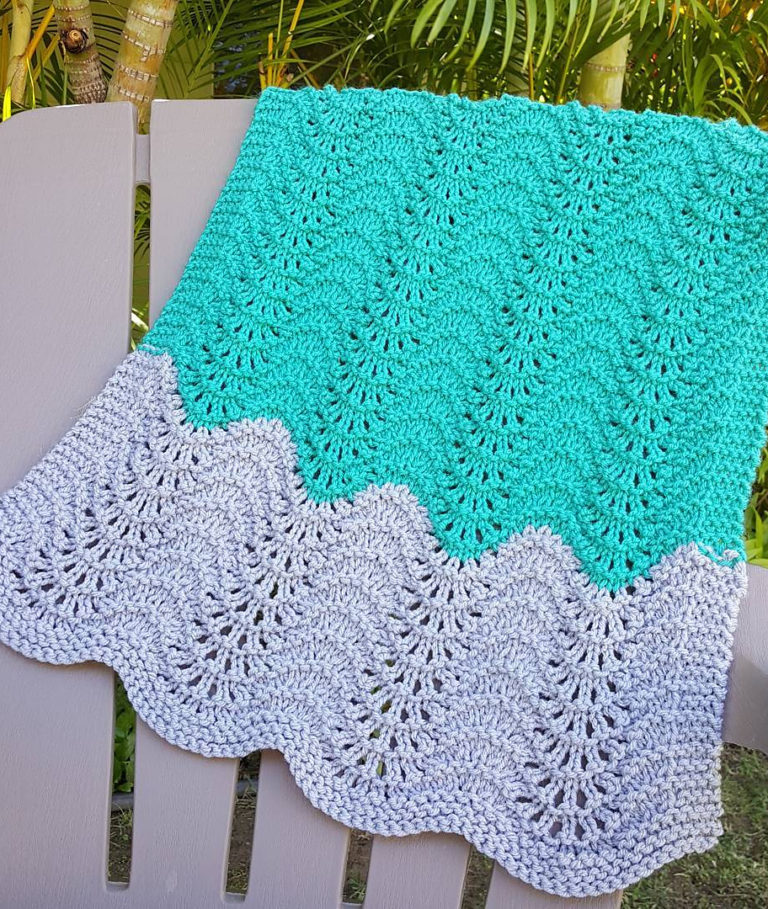 Free Knitting Pattern for Feather and Fan Car Seat Blanket