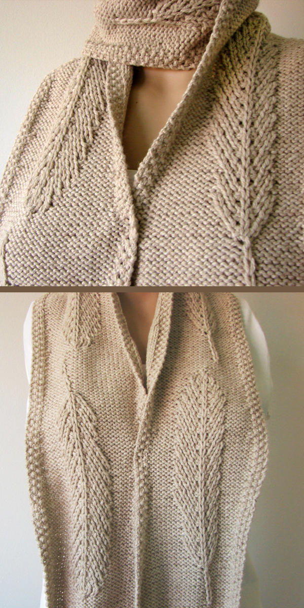 Knitting Pattern for Reversible Feather Scarf