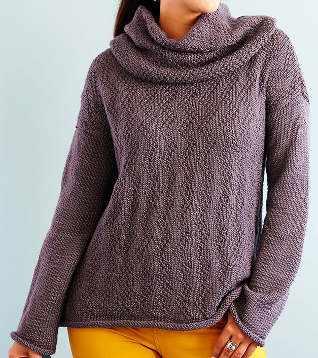 Free Knitting Pattern for Feather Chic Sweater & Removable Cowl
