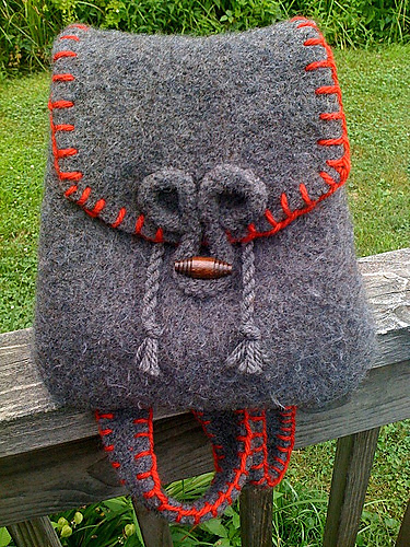 Free Knitting Pattern for Easy Felted Backpack