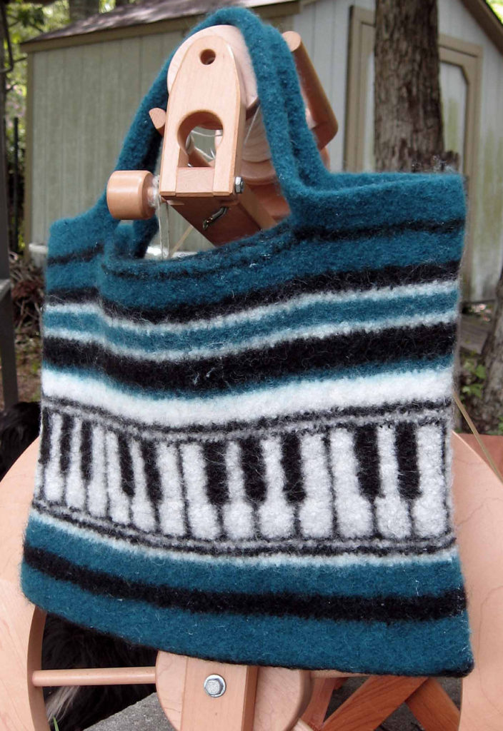 Free Knitting Pattern for Felted Piano Tote Bag