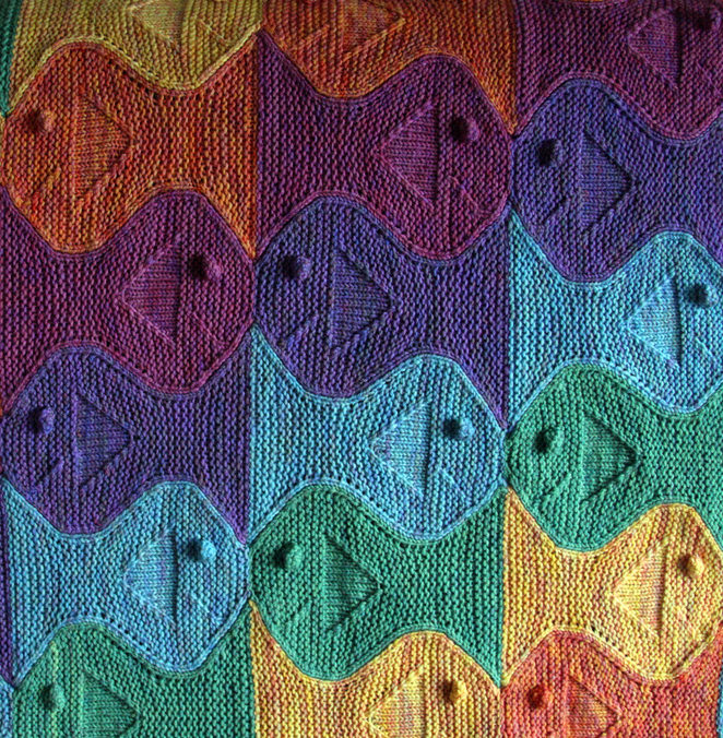 Knitting Pattern for Festive Fish Baby Blanket