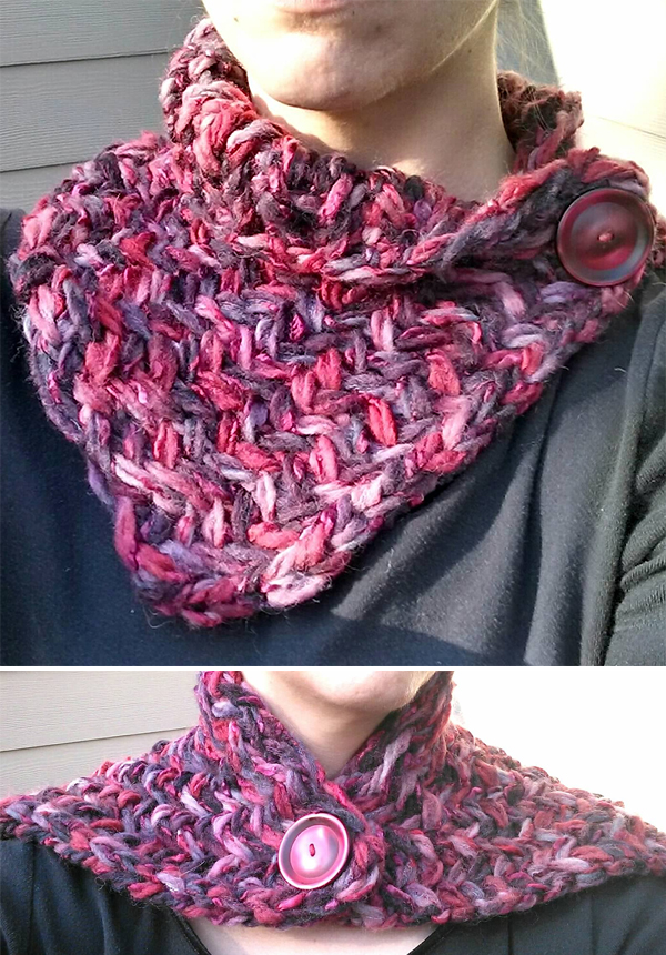 Free Knitting Pattern for 2 Row Repeat Fettuccini Herringbone Cowl