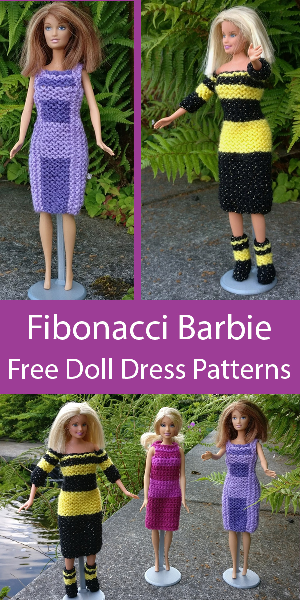 Free Knitting and Crochet Patterns for Fibonacci Barbie Dresses