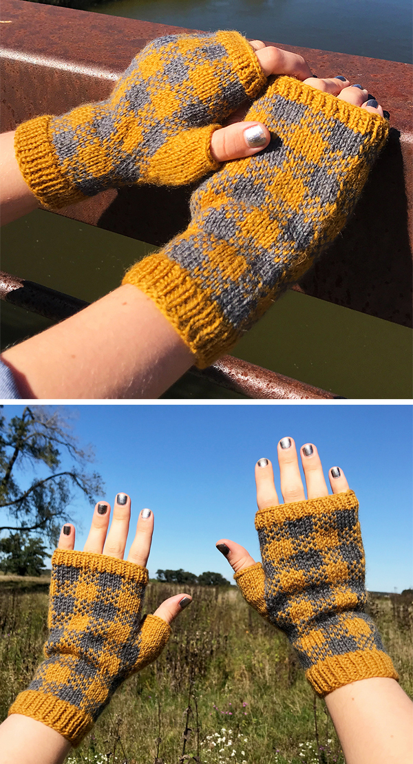 Free Knitting Pattern for Plaid Field Mitts