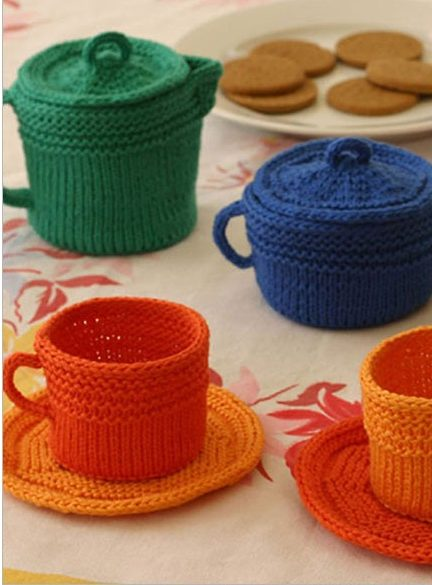 Knitting Pattern for Fiesta Tea Set