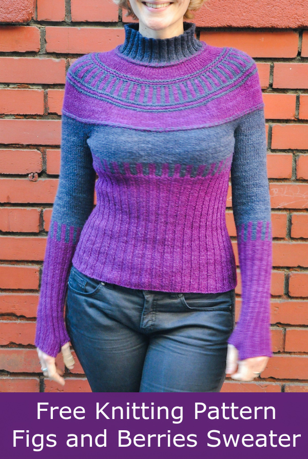 Free Knitting Pattern for Figs and Berries Sweater