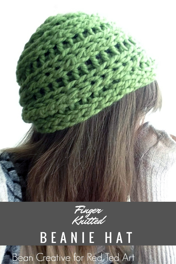 Free Finger Knitting Pattern for Beanie Hat