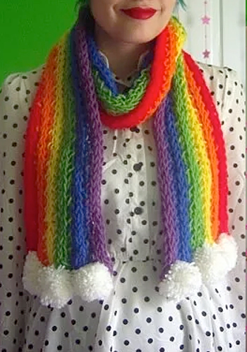 Free Knitting Pattern for Finger Knit Rainbow Scarf