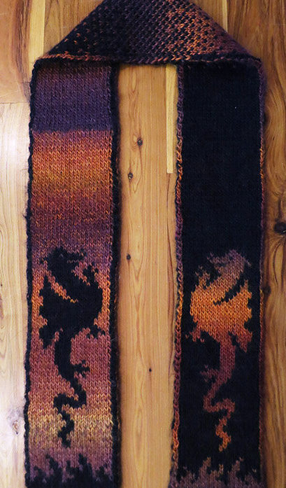 Knitting Pattern for Fire Dragon Scarf