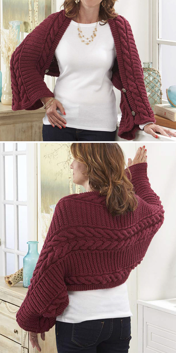 3a4b86dbcac Free Knitting Pattern for Easy Fireside Cabled Shawl Shrug