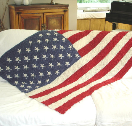 Knitting pattern for American Flag Afghan throw