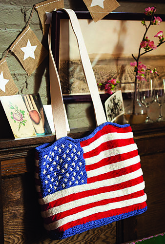 Knitting pattern for Flag Tote Bag