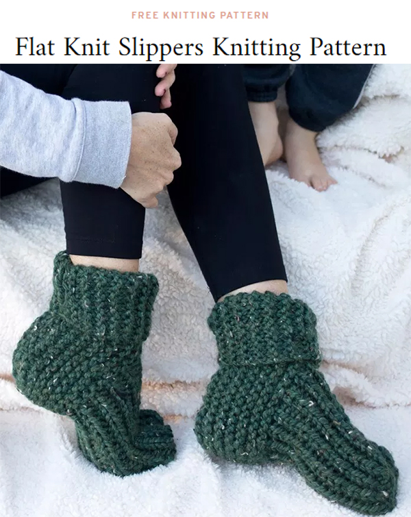 Free Knitting Pattern for Easy Flat Knit Slippers
