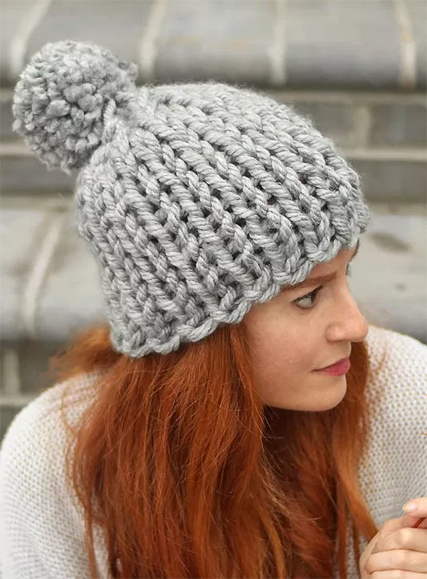 Free Knitting Pattern for Flat Knit Chunky Hat