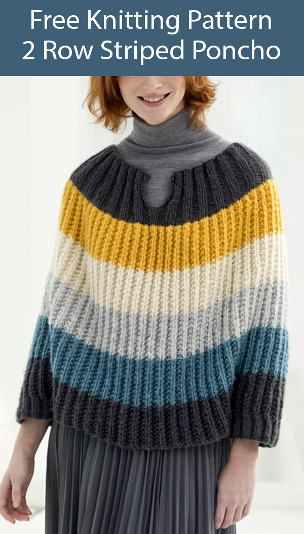 Free Knitting Pattern for 2 Row Striped Poncho