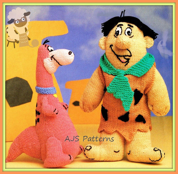 Knitting pattern for Fred Flintstone and Dino the Dinosaur