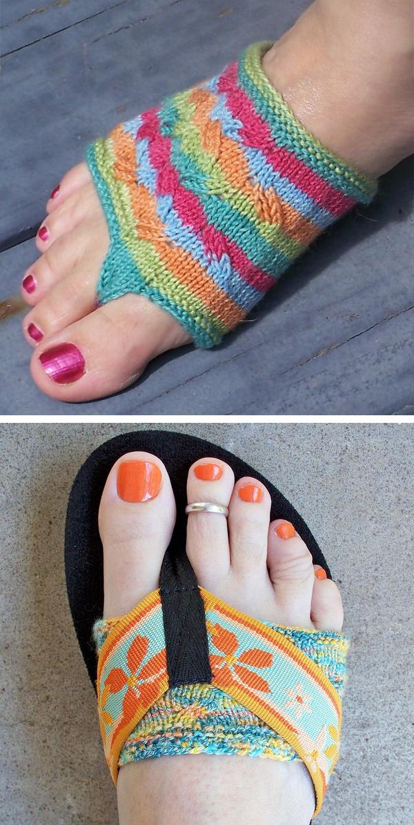 908e304d61aa Free Knitting Pattern for Easy Flippant Thong Socks