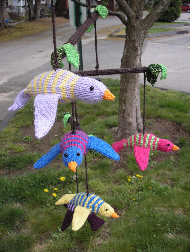 Free Knitting Pattern for Flock Bird Baby Mobile