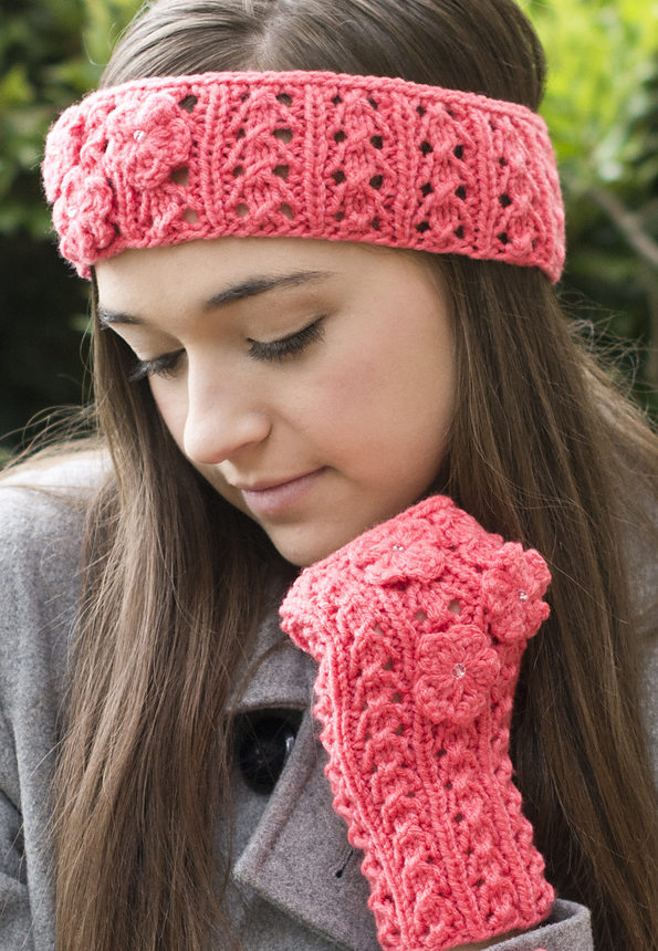 Free Knitting Pattern for Fun Floral Headband and Mitts