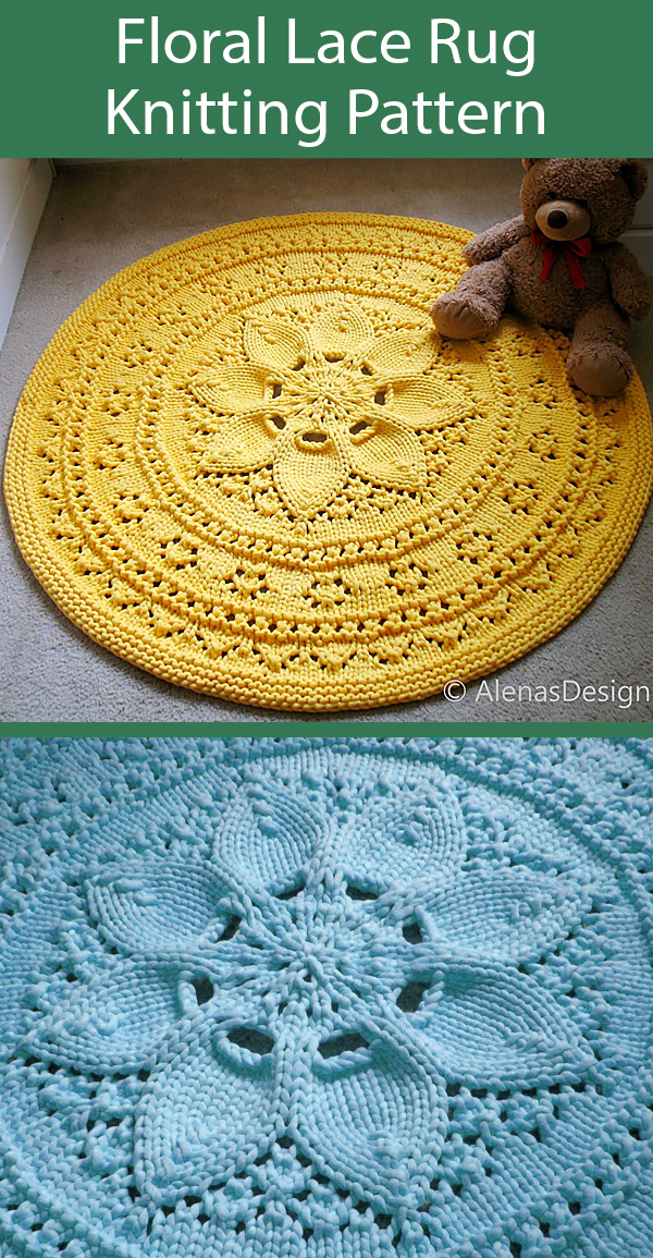 Knitting Pattern for Floral Lace Rug