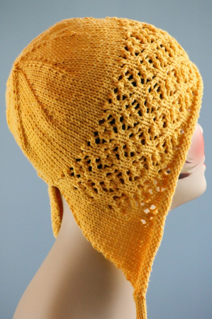 Free knitting pattern for Floral Mesh Bonnet