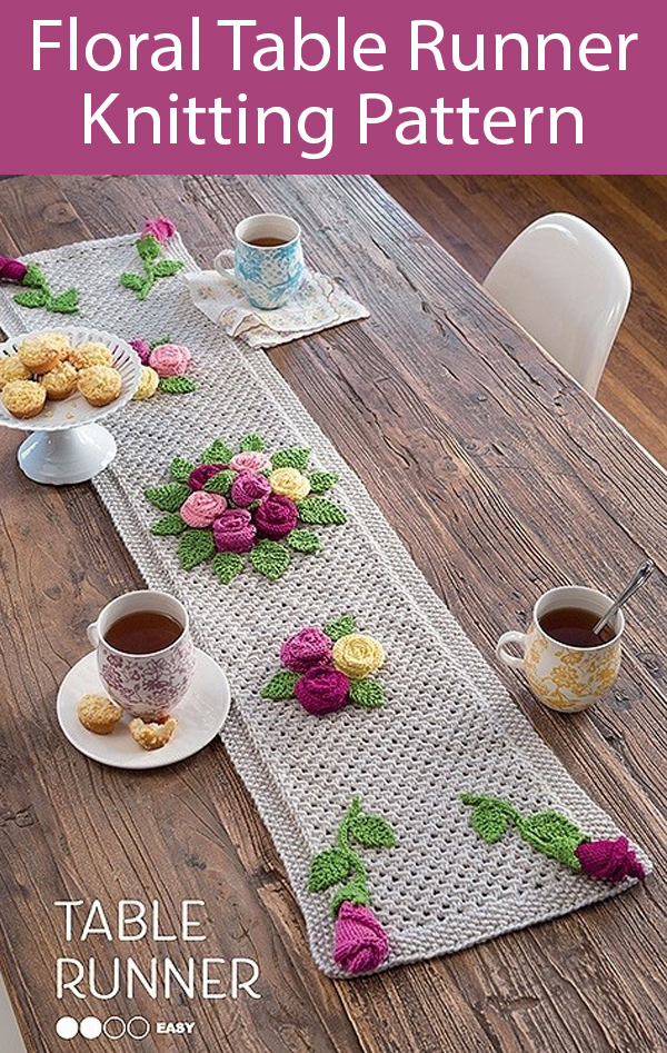 Knitting Pattern for Floral Table Runner