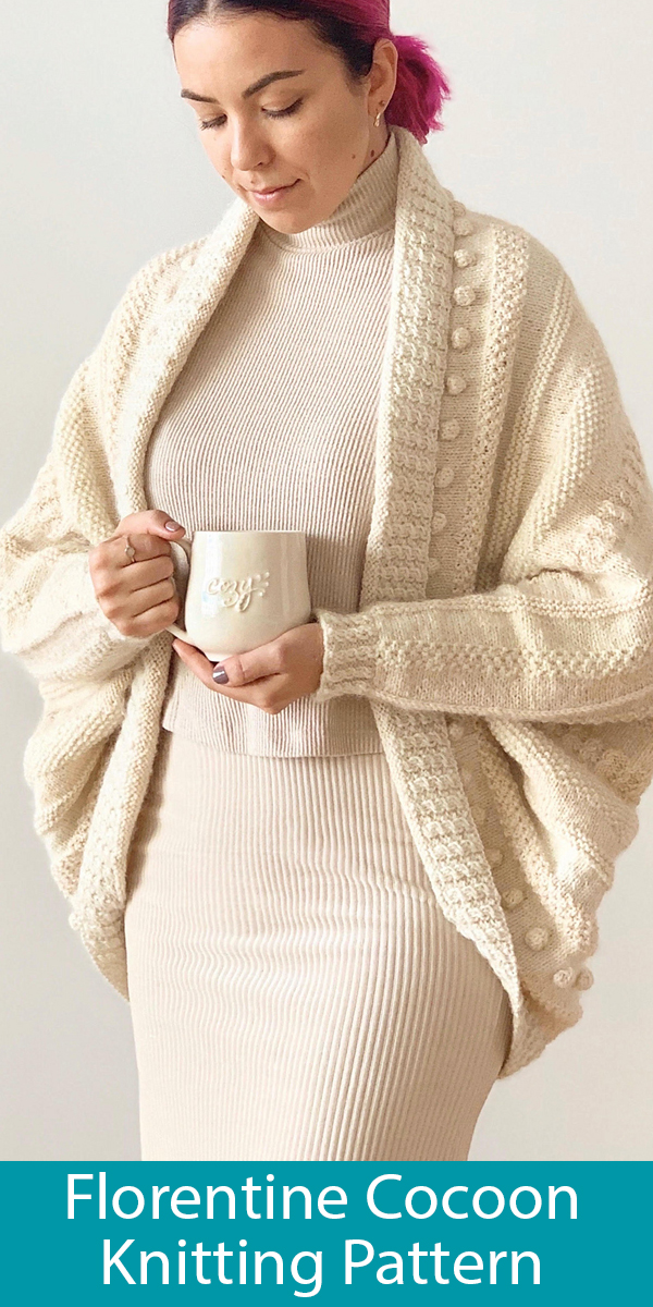 Knitting Pattern for Florentine Cocoon Cardigan