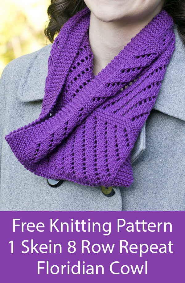 Free Knitting Pattern for 8 Row Repeat One Skein Floridian Cowl
