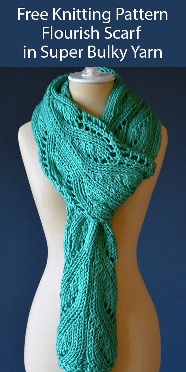 Free Knitting Pattern for Flourish Scarf in Super Bulky Yarn