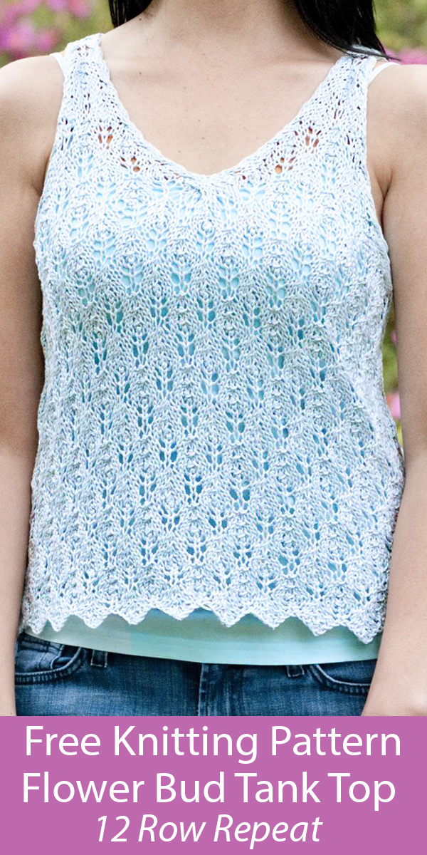 Free Knitting Pattern for Flower Bud Lace Tank Top