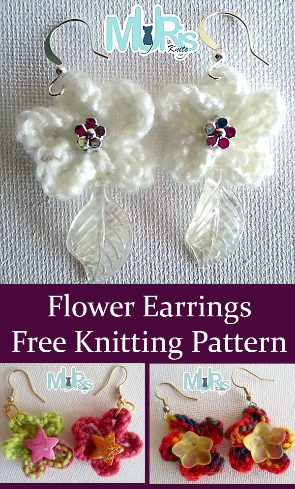 Free Knitting Pattern for Easy Flower Earrings