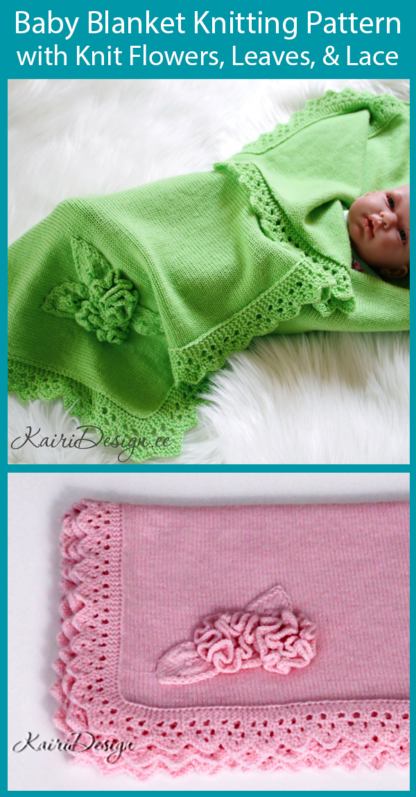 Knitting Pattern for Lace and Flowers Baby Blanket