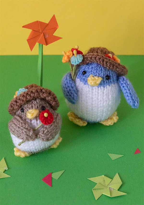 Free Knitting Pattern for Flower Penguins